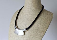 Plate necklace with black braided nylon cord  handmade by KUARTZ