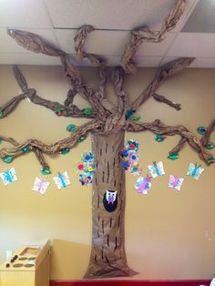 Classroom tree. We made this with newspaper and brown paper. The branches are scrap brown paper from packaging. I'm waiting to get more to expand the branches. I spent one dollar on brown paper for the tree trunk.