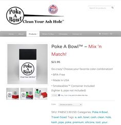 Team Poke A Bowl™ was up all night to bring you Mix 'n Match options! Go crazy & choose your favorite color combination! :) Check it out only at www.pokeabowl.com #pokeabowl #cleanyourashhole #smoke #smokeables #bowl #pipe #cleanbowl #cleanpipe #cleanings
