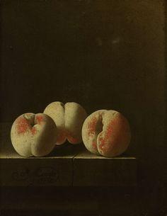 Drie perziken op een stenen plint, Adriaen Coorte, ca. 1705