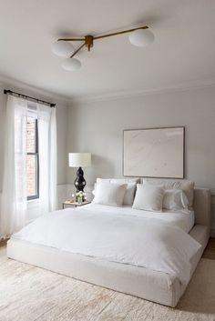 modern bedroom, minimalist bedroom, bedroom decor, home decor Serene Bedroom, Cozy Bedroom, Bedroom Colors, Home Decor Bedroom, Bedroom Neutral, All White Bedroom, Bedroom Inspo, Bedroom Curtains, Bedroom Wardrobe