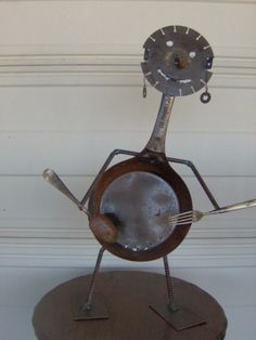 Metal Yard Art, Scrap Metal Art, Recycle Art, Repurpose, Garden Junk, Garden Art, Metalarte, Metal Board, Tin Can Alley