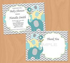 Printable editable baby shower files: elephant boy baby shower invitation and thank you card.  ►You change and edit text ~ You edit text yourself◄
