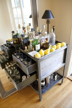 A home bar is one of the most fun places in the house, and it's a great area to add a pop of color—whether in the cabinetry, stools, walls or art. Check out 33 custom home bar design ideas. All styles, sizes and materials. These are awesome. Mini Bars, Metal Bar Cart, Gold Bar Cart, Bar Furniture, Vintage Furniture, Bar Vintage, Antique Bar, Vintage Vanity, Vintage Style