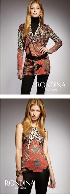 Screen print animal-paisley print open top - matching sleeveless top. Rondina New York - www.rondinanewyork.com
