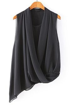 Black Plain Irregular Sleeveless Chiffon Blouse