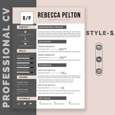 Professional Resume Template Modern CV Template for Word image 0