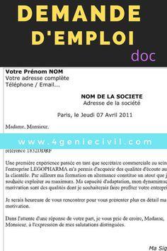 Demande De Travail En France Demande D Emploi Lettre De Motivation Simple Lecture De Plan