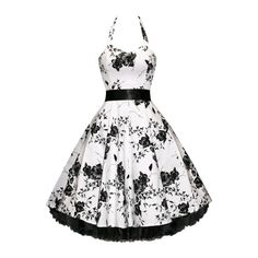 Swing Floral Printed Ball Gown Awesome Skater Dress ($19) ❤ liked on Polyvore featuring dresses, white dress, botanical dress, floral dress, floral printed dress and flower print dress