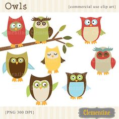 40% OFF SALE -Owl clip art images, owl clipart, royalty free clip art- Instant Download