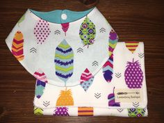 Bandana Bib and Burp Cloth set, Feathers by LondonGreyBoutique on Etsy