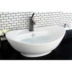 Bring added elegance to your bathroom with the graceful lines of this white vessel sink. Constructed of durable and stain resistant vitreous china, this vessel sink arrives with a hole to mount a faucet and built-in overflow. White Vessel Sink, Vessel Sink Bathroom, Vanity Sink, Basin Sink, Sink Faucets, White Bathroom, Small Bathroom, Bathroom Ideas, Master Bathroom
