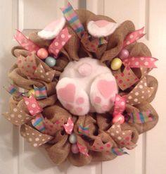 Easter wreath/ Burlap Easter bunny booty wreath  by Wreaths4u2byPaula on Etsy https://www.etsy.com/listing/219764836/easter-wreath-burlap-easter-bunny-booty