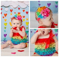 Baby Girl Clothes-Rainbow Lace Petti Romper & Headband SET-Preemie-Newborn-Infant-Child-Toddler-Birthday Cake Smash-Clothing-Vintage-Dress on Etsy, $24.99