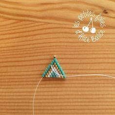 Tutoriel : Tissage brick stitch - Level 1 - Alice Balice - couture et DIY loisirs créatifs Diy Seed Bead Earrings, Beaded Earrings, Earrings Handmade, Seed Beads, Beading Patterns Free, Beading Tutorials, Geometric Designs, Geometric Art, Triangle Art
