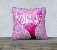 Save the Mermaids/Mermen - save the oceans! Mermaid and merman inspired pillow cover designs featuring watercolor scales in a variety of ocean colors! This mermaid pillow will add some magic to your bedroom or living room, and is a great way to curl up with fantastic dreams. Great for any believer!     Pillowcase, mermaid decor, home decor, beach decor, environmentalism, pollution, save the whales