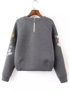 Shop Grey Round Neck Bird Embroidered Crop Sweatshirt online. SheIn offers Grey Round Neck Bird Embroidered Crop Sweatshirt & more to fit your fashionable needs.