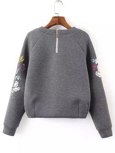 Shop Grey Round Neck Bird Embroidered Crop Sweatshirt online. SheIn offers Grey Round Neck Bird Embroidered Crop Sweatshirt & more to fit your fashionable needs.