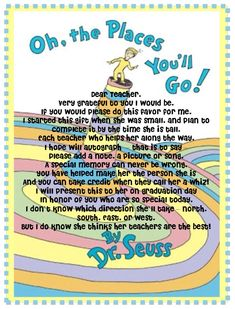Oh the places you'll go note to teachers