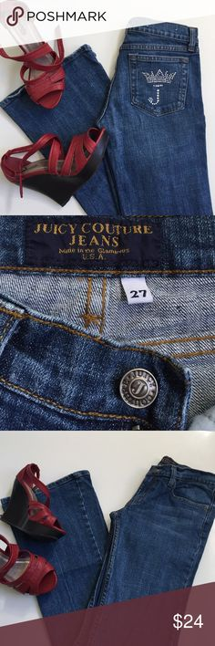 Juicy Couture jeans, for the Princess 👑 Juicy Couture jeans, Sz 27 X 32, made for the Princess, Queen, and Diva in all of us. Medium wash, flare leg, bejeweled back pocket, so fabulous👑 10in ankle. Pre-loved condition. Made in the Glamorous USA 🇺🇸 Juicy Couture Jeans Flare & Wide Leg