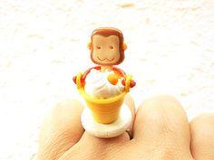 Kawaii Food Ring Ice Cream Sundae Monkey  by SouZouCreations, $12.50