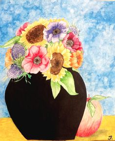 Painting aquarell summer flower #painting by MrsPicca