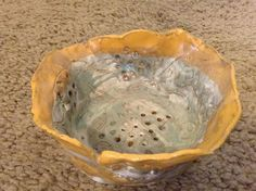 Handmade Yellow and Light Blue Clay Bowl
