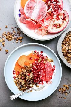 orange and grapefruit yogurt breakfast bowls ☆ Join our Pinterest Fam: @SkinnyMeTea (140k+) ☆ Oh, also use our code 'Pinterest10' for 10% off your next teatox