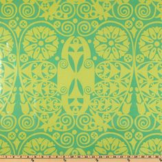 LAMINATED cotton fabric - Temple doors Amy Butler Soul Blossom coated vinyl fabric yardage (aka oilcloth) Temple Doors Grass WIDE bpa free