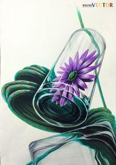 개체묘사 꽃 수국 밧줄 물컵