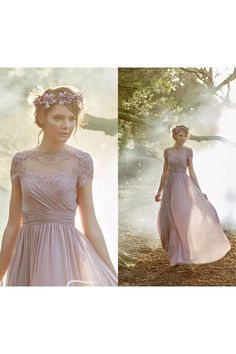 2599b2ed328 A-line Jewel Cap Short Sleeve Floor-length Chiffon Bridesmaid Dress with  Appliques and Ruching