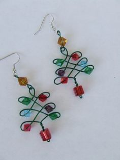 Wire Wrapped Christmas Tree Earrings - good to sell.