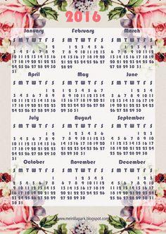 FREE printable 2016 vintage rose calendar