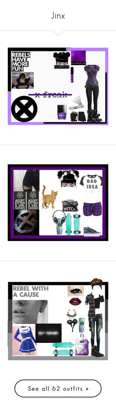 """""""Jinx"""" by thin-mint on Polyvore featuring Dr. Martens, Majesty Black, Butter London, Marvel Comics, Lazy Oaf, Vans, Proenza Schouler, WALL, Timberland and JanSport"""