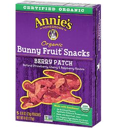 Berry Patch Organic Bunny Fruit Snacks - Annie's Homegrown. I get these on occasion. Usually only if my kids are with me at the store and ask for them, which is rare that I bring them. They get hyper from these. I might give them to them for a treat at a party or in their stockings at Christmas. They sell these at Costco. Can also get at Woodman's, Whole Foods, and many grocery stores.