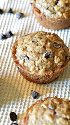 Low Sugar Vegan Oatmeal Chocolate Chip Muffins :: YummyMummyClub.ca