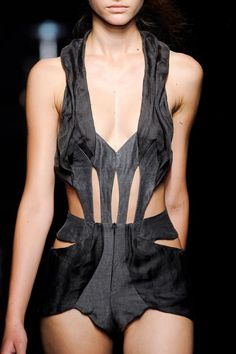 Structured Symmetry - tailored bodysuit, both strong and delicate; fashion details // Yiqing Yin