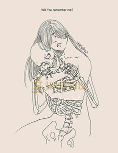 Death and maiden. Haenuli Shin, Illustrations, Illustration Art, Der Steppenwolf, 7 Arts, Art Et Design, Skeleton Art, Arte Obscura, Kawaii