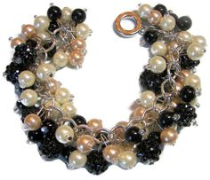 Cream Black Ivory Pearl Cluster Bracelet with Large Bumpy Chaton Balls, Bridesmaid Gift, Wedding Jewelry Statement Bracelet Beaded Bracelet - pinned by pin4etsy.com