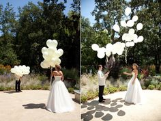unique wedding ideas first look using balloons. This is one of the most interesting ideas I've seen (and makes for great photos!)