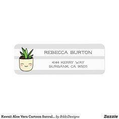 Shop Kawaii Aloe Vera Cartoon Succulents Return Address Label created by BikkiDesigns. Custom Return Address Labels, Address Label Template, Label Templates, Succulent Plants, Succulents, Kawaii Faces, Aloe Vera, Customized Gifts, Envelopes