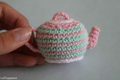 Have a tea party with your dolls with this cute crocheted amigurumi teapot.