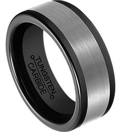 8mm Black Tungsten Rings Plated Brushed Beveled Edge Polished Comfort Fit Wedding Band