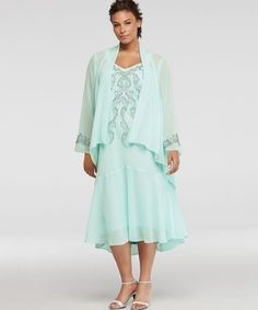 fff96e1c85c flowy light blue two piece sequin plus size mother of bride dress davids  bridal Davids Bridal
