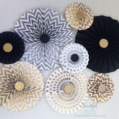 New Year's Eve Wedding Decor || Gold Glitter Rosettes || Gold Rosette Centerpieces || Black and Gold Party Decor || Graduation Paper Fans