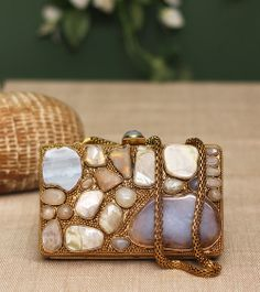 Rust Stone Embellished Leather Bag