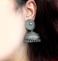 JhumkasLarge Silver Jhumka earringsAntique by taneesijewelry