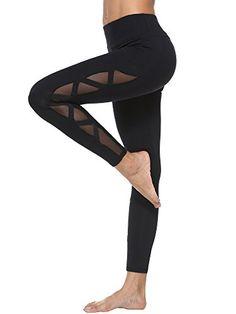 dh Garment Legging de Sport Femme Taille Haute avec Poche Legging Yoga Patalon Zumba Fitness Gym Noir (Medium)
