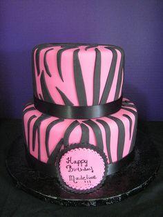 zebra black and pink cake :)