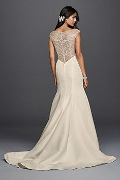 $$  Faille Mermaid Wedding Dress with Plunging Neckline Style SWG724, Ivory, 6